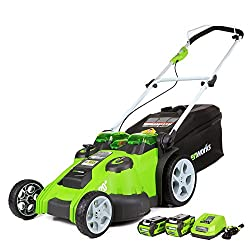 "GREENWORK 20"" TWINFORCE 1/2 ACRE LOT LAWN MOWER"